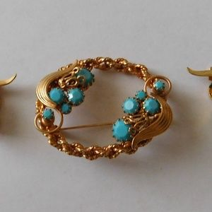 Vintage 1950 Gold Filled Turquoise Brooch Earrings